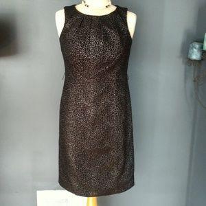 Black and silver animal print sheath dress